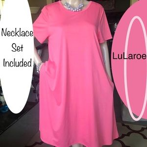 👄 LuLaroe Hot Pink Jessie Knit Dress w/pockets